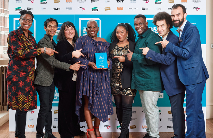 Innovation award winners Artistic Directors of the Future's Charmaine Miller and Sandra Thompson-Quartey (centre) with partners (from left) Amanda Huxtable, Suba Das, Nadia Fall, Roy Alexander Weise, Justin Audibert and Matthew Xia. Photo: Alex Brenner
