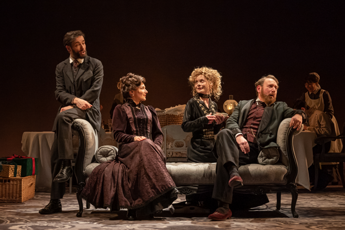Ed Stoppard, Alexis Zegerman, Faye Castelow and Adrian Scarborough in Leopoldstadt. Photo: Marc Brenner