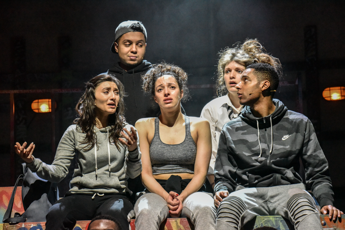 Nigar Yeva, Zak Douglas, Aimee Powell, Kate Donnachie and Khai Shaw in Crongton Knights. Photo: Robert Day