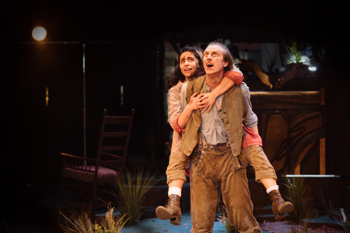 Rakhee Sharma and Alex Austin in Wuthering Heights at Royal Exchange Theatre, Manchester. Photo: Helen Murray