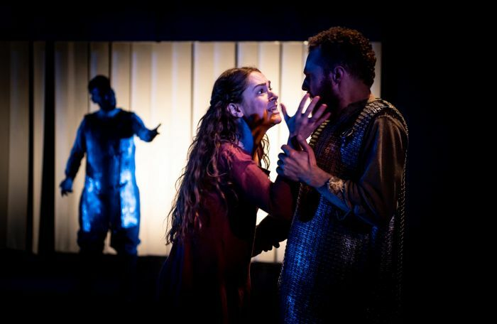 Adam Karim, Phoebe Sparrow and Paul Tinto in Macbeth at Queen's Theatre, Hornchurch. Photo: Mark Sepple