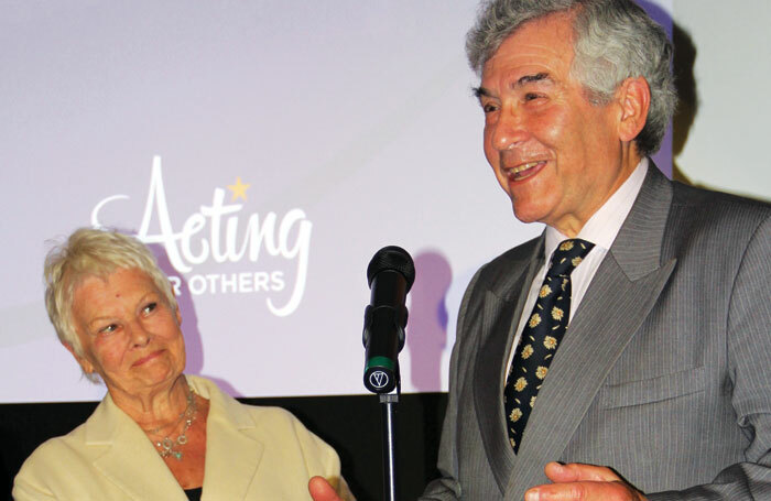 Acting for Others president Judi Dench and chairman Stephen Waley-Cohen. Photo: Mark Lomas