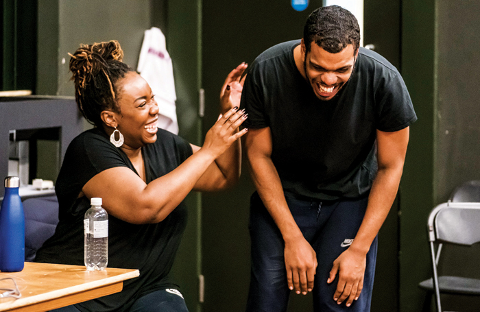Chizzy Akudolu and Caleb Roberts in rehearsals for I Think We're Alone. Photo: Tristram Kenton