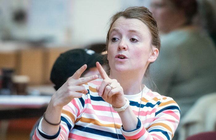 Amy Leach in rehearsal for Oliver Twist. Photo: Anthony Robling