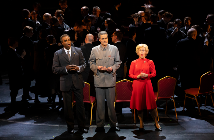 Eric Greene, Nicholas Lester and Julia Sporsén in Scottish Opera's production of Nixon in China. Photo: James Glossop