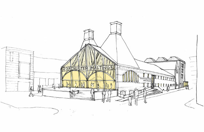Architect's sketch showing the exterior of the proposed Dorchester Maltings