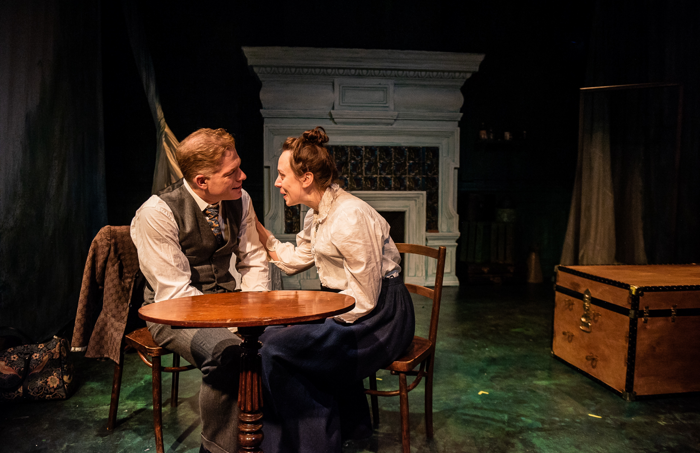 Fred Perry and Scarlett Brookes in Tryst at Chiswick Playhouse. Photo~: Savannah Photographic