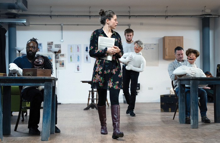 The cast of Northern Broadsides' Quality Street in rehearsal. Photo: Sam Taylor