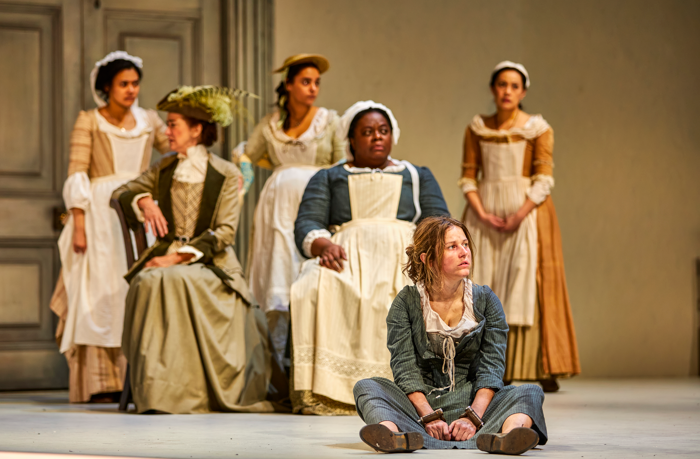 Ria Zmitrowicz and the company of The Welkin at the National Theatre, London. Photo: Brinkhoff-Moegenburg