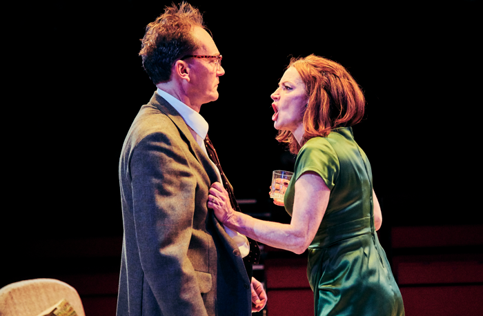 Mark Meadows and  Pooky Quesnel in Who's Afraid of Virginia Woolf? at Tobacco Factory Theatres, Bristol. Photo: Mark Dawson