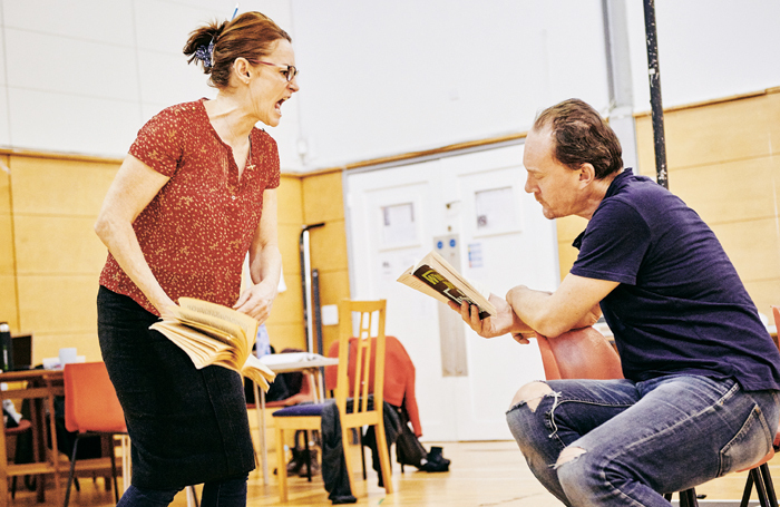Pooky Quesnel and Mark Meadows in rehearsals for Who's Afraid of Virginia Woolf?. Photo: Mark Dawson Photography