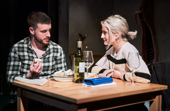 Sean Fox and India Mullen in Meat at Theatre503, London. Photo: Alex Brenner