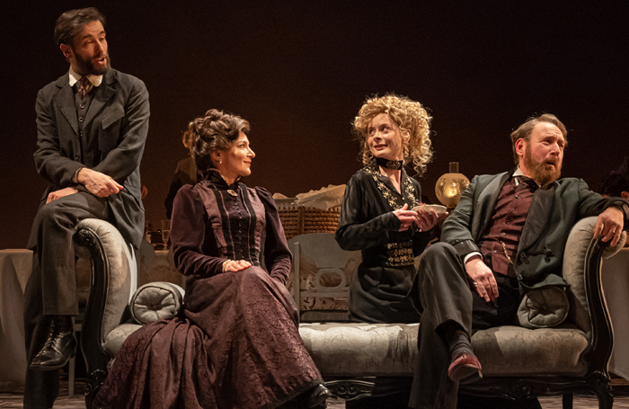 Ed Stoppard, Alexis Zegerman, Faye Castelow and Adrian Scarborough in Leopoldstadt at Wyndham's Theatre. Photo:  Marc Brenner