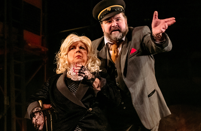 Elaine C Smith and Steven McNicoll in Mrs Puntila and Her Man Matti at the Royal Lyceum Theatre, Edinburgh. Photo: Mihaela Bodlovic
