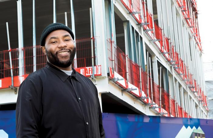 Gbolahan Obisesan outside the Brixton House building works