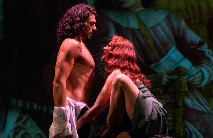 Errico Liguori and Pia Lanciotti in The Revenger's Tragedy at London's Barbican Theatre. Photo: Masiar Pasquali