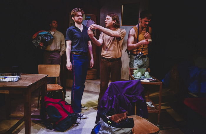 Russell Bentley, Ryan Whittle, Joe McArdle and Ronnie Yorke in Not Quite Jerusalem at Finborough Theatre, London. Photo: Kirsten McTernan