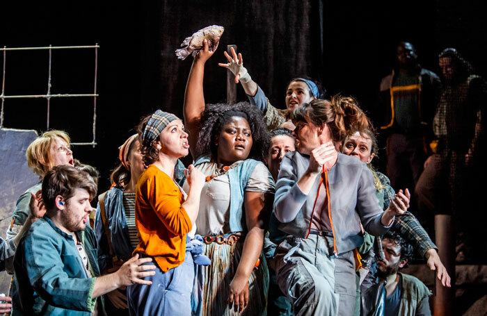 Masabane Cecilia Rangwanasha, centre, in Susanna at the Linbury Theatre, London. Photo: Tristram Kenton