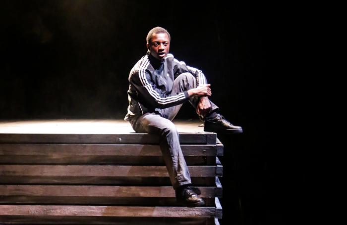 Anton Cross in Good Dog, a Tiata Fahodzi production directed by Natalie Ibu, at Watford Palace Theatre in 2017. Photo: Wasi Daniju