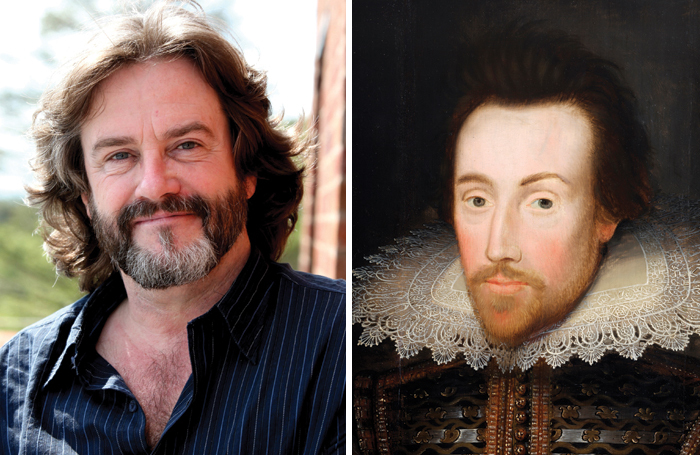 Right: Jacobean portrait of a man believed to be  William Shakespeare. Left: RSC artistic director Gregory Doran, who rebutted critic Dominic Cavendish's claim that Shakespeare is being destroyed by 'woke' productions