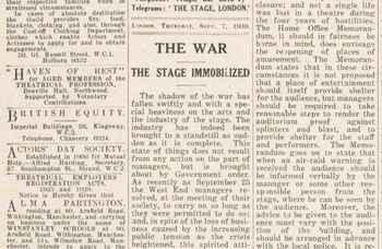 When Theatreland last closed its doors – 81 years ago in The Stage