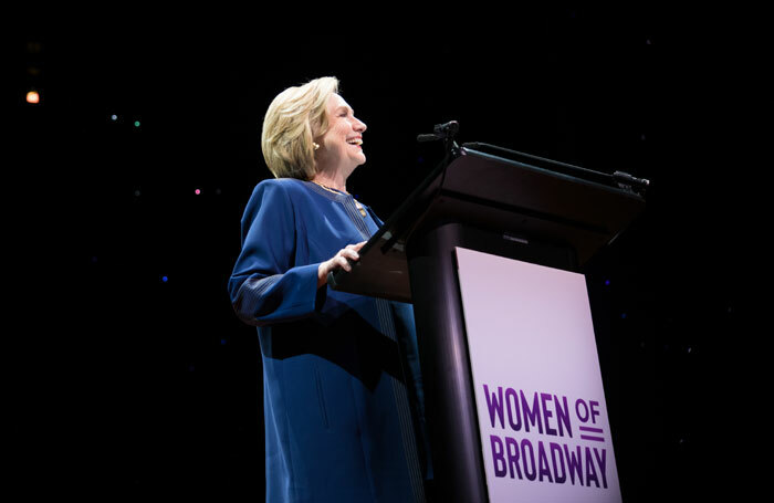 Hillary Clinton delivering the closing keynote speech at this year's Women of Broadway 2020