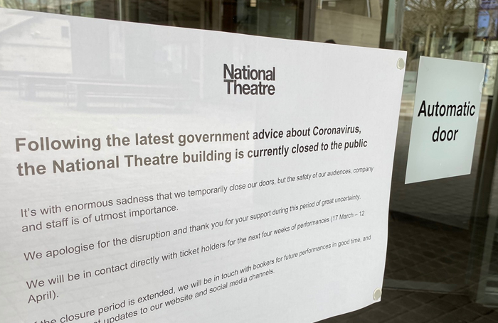 The entrance door to the National Theatre earlier today (March 17, 2020)
