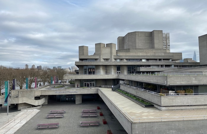 """Outside London's National Theatre. To slow the spread of the coronavirus, the government has announced that the public should """"avoid"""" theatres. Photo: Alistair Smith"""