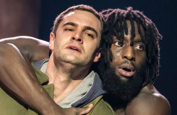 Tom Bateman and Theo Ogundipe in Coriolanus. at Crucible Theatre, Sheffield. Photo: Johan Persson