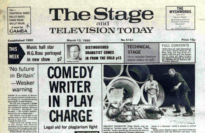 Front page of The Stage, March 13, 1980