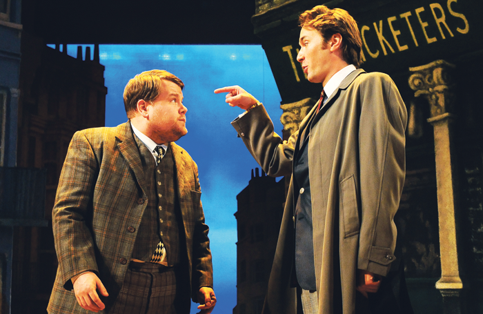 James Corden and Oliver Chris in One Man Two Guvnors at the Lyttelton, National Theatre in 2018. Photo: Tristram Kenton