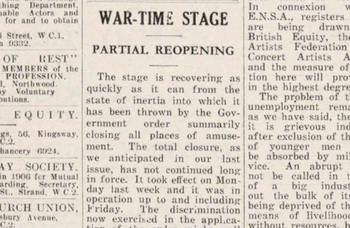 Theatres reopened during Second World War – 81 years ago in The Stage
