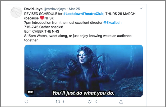 David Jay's tweet before participants watched the film of Into the Woods together