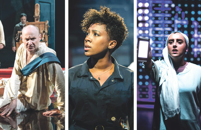 Mark Gatiss in The Madness of George III (photo: Manuel Harlan), Jade Anouka in  Queen Margaret (photo: Johan Persson) and Maimuna Memon  in  The Assassination of Katie Hopkins (photo: Sam Taylor)