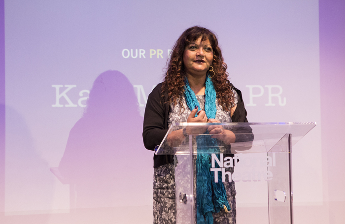 Tanika Gupta speaking at the launch of the Women's Prize for Playwriting. Photo: Adam Bennett