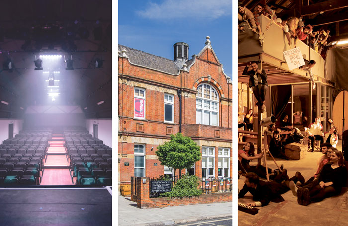 Barn Theatre auditorium, the Omnibus Theatre, London, and line-up of 2018 Vault Festival, London