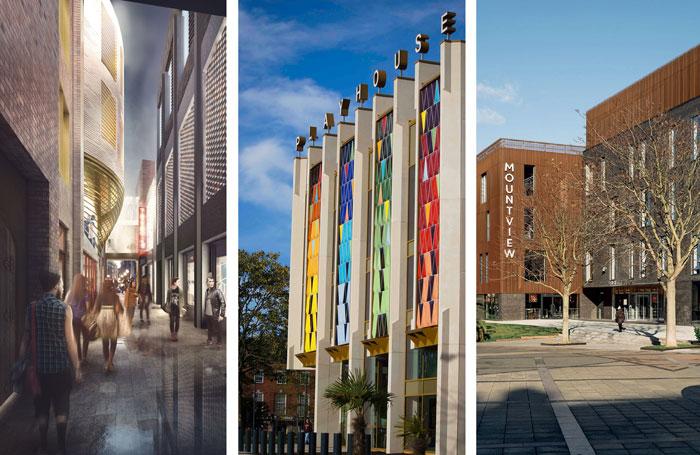 Left to right: Artist's impression of London's Boulevard Theatre (photo:  SODA Studio); Leeds Playhouse (photo: Heather Whiston); Mountview Academy (photo: Tim Crocker)