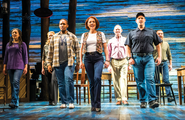 The cast of Come from Away at London's Phoenix Theatre. Photo: Tristram Kenton