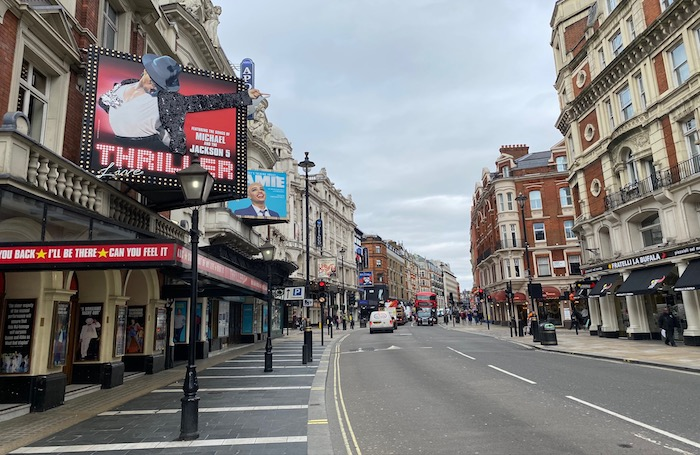 London's West End, where theatres remain closed. Photo: Alistair Smith