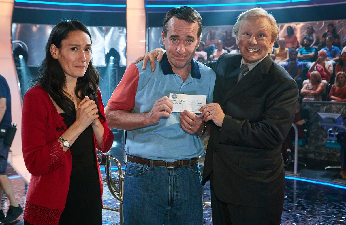 Sian Clifford, Matthew Macfadyen and Michael Sheen in ITV's Quiz. Photo: Leftbank Pictures for ITV