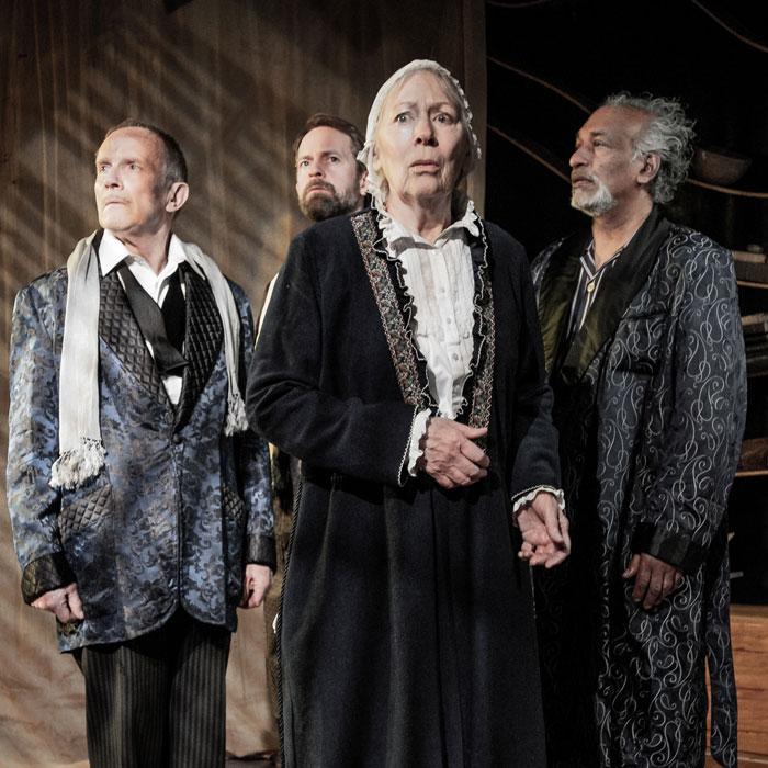Richard Derrington, Peter Bramhill, Lynn Farleigh and Jim Findley in The Tempest at Jermyn Street Theatre. Photo: Robert Workman