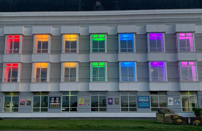 Lights at the temporary hospital in Venue Cymru in Llandudno