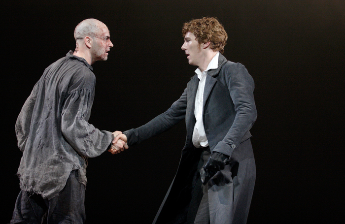Jonny Lee Miller and Benedict Cumberbatch in Frankenstein. Photo: Catherine Ashmore