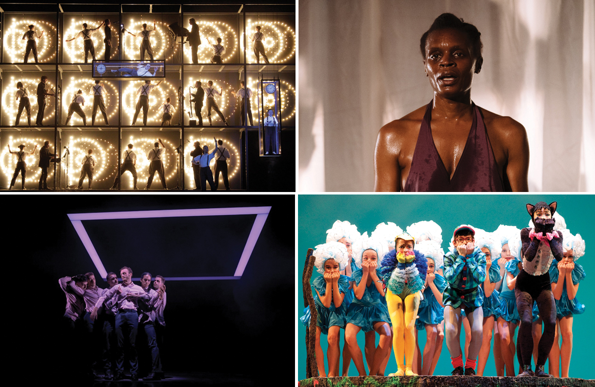 Top row: Einstein on the Beach, Okwui Okpokwasili in Bronx Gothic. Bottom row: Balletboyz, Royal Ballet in Peter and the Woolf. Photos: Helen Murray/Lawrence K Ho/Tristram Kenton