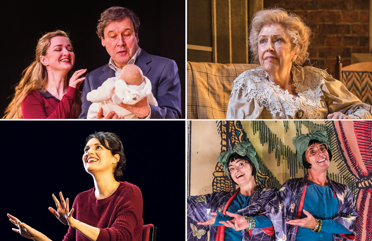 Top row: Cyprus Avenue and Anne Reid in A Woman of No Importance. Photos: Tristram Kenton/Marc Brenner. Bottom row: Phoebe Waller-Bridge in Fleabag, Wise Children. Photos: Matt Humphrey/Tristram Kenton