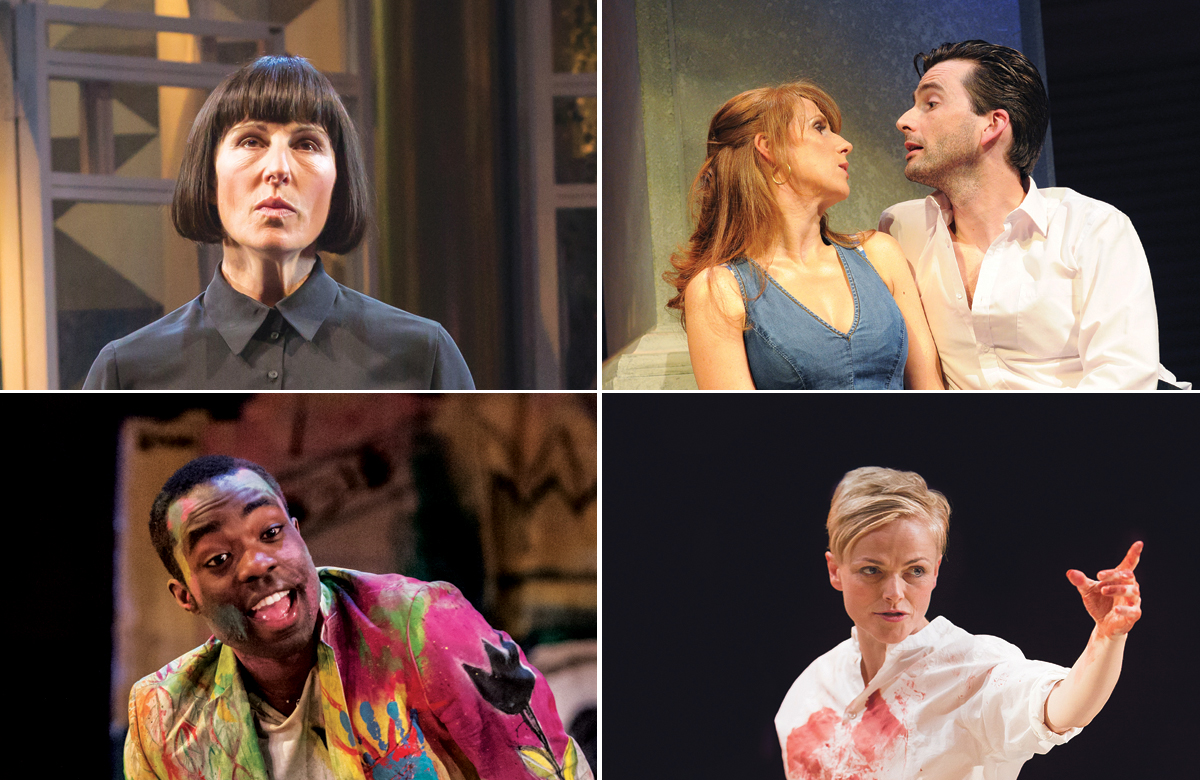 Top row: Tamsin Greig in Twelfth Night, Catherine Tate and David Tennant in Much Ado About Nothing. Photos: Marc Brenner/Tristram Kenton. Bottom row: Paapa Essiedu in Hamlet and Maxine Peake in Hamlet. Photos: Manuel Harlan/Jonathon Keenan