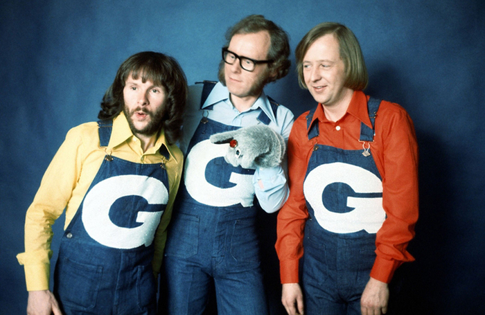 Tim Brooke-Taylor (right) with fellow Goodies Bill Oddie and Graeme Garden
