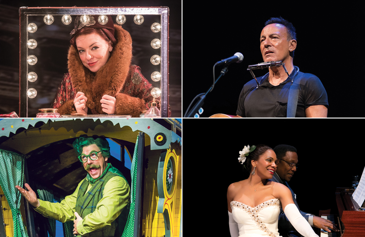Top row: Sheridan Smith in Funny Girl, Bruce Springsteen. Photos: Marc Brenner/Robert DeMartin. Bottom row: Rufus Hound in Wind in the Willows, Audra McDonald in Lady Day at Emerson's Bar and Grill. Photos: Tristram Kenton