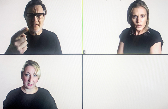 David Morrissey (top left), Maggie Service (bottom left) and Denise Gough (top right) in A Separate Peace