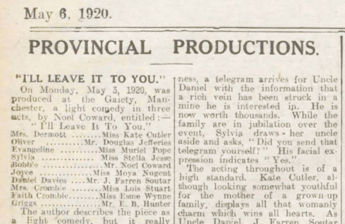 Noël Coward's debut – 100 years ago in The Stage